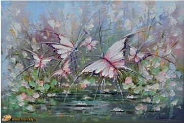 Бабочки на пруду